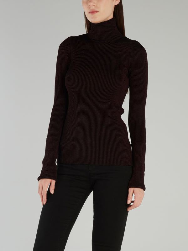 Burgundy Knitted Turtleneck Top
