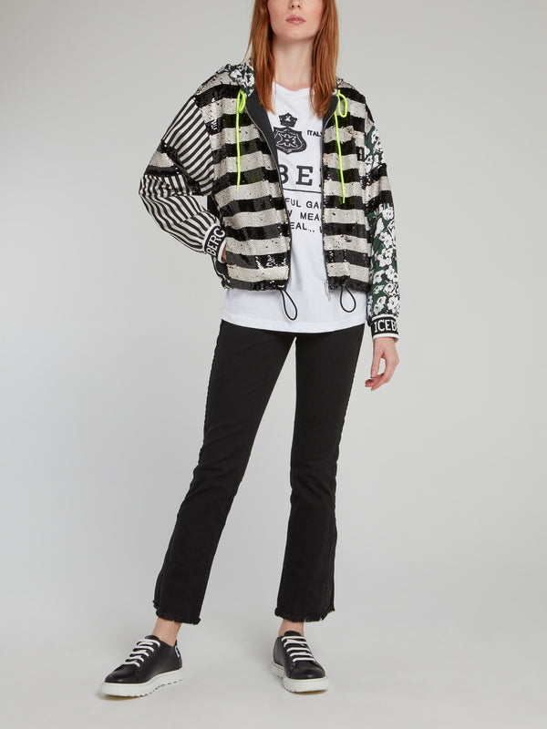 Striped Sequin Drawstring Jacket