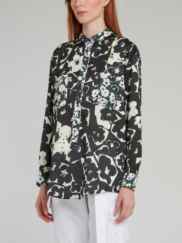 Black Floral Print Button Up Shirt