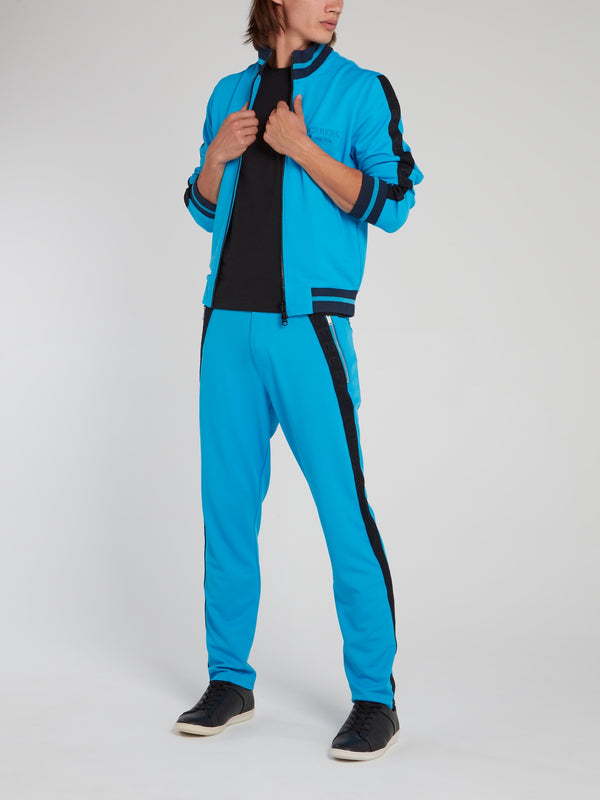 Blue Ribbed Waistband Side Stripe Pants