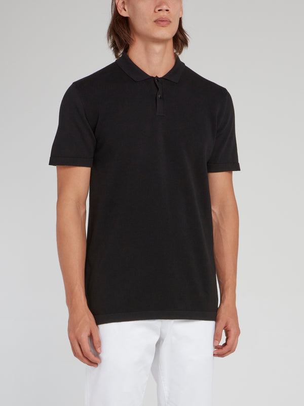 Black Rear Logo Knitted Polo Shirt