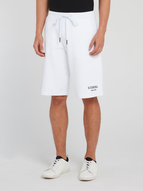 White Logo Drawstring Knitted Shorts