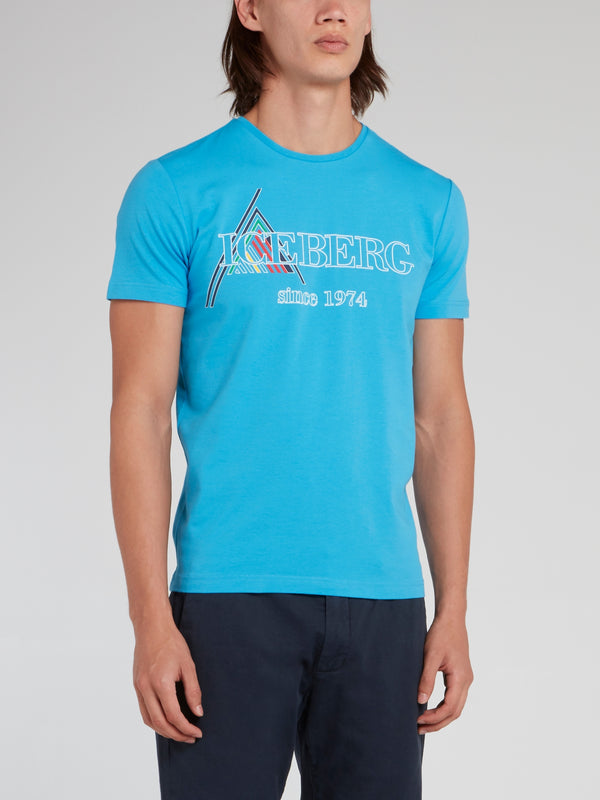 Blue Logo Print Round Neck T-Shirt