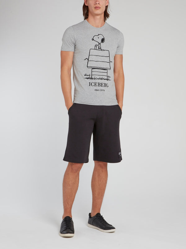 Snoopy Sketch Grey Cotton T-Shirt