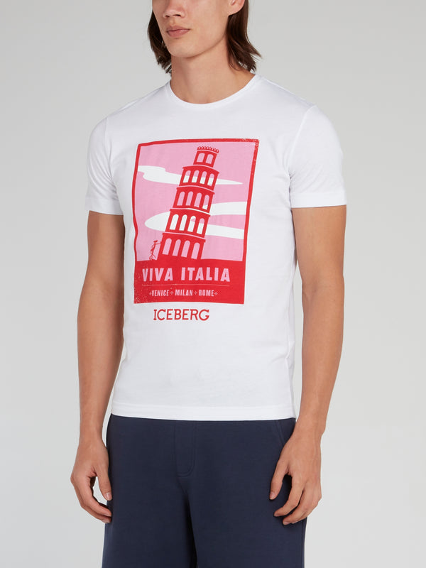 Pink Panther in Pisa White Cotton T-Shirt