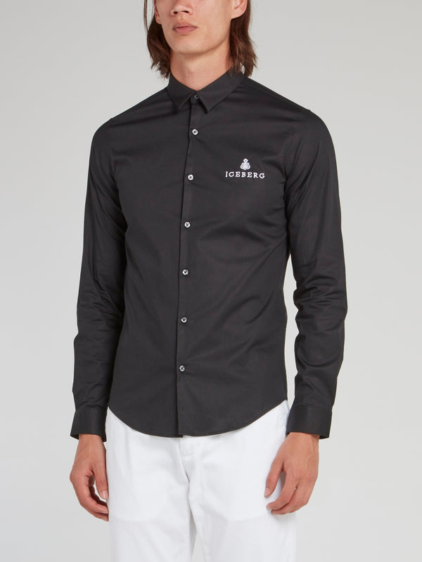 Black Logo Embroidered Button Up Shirt
