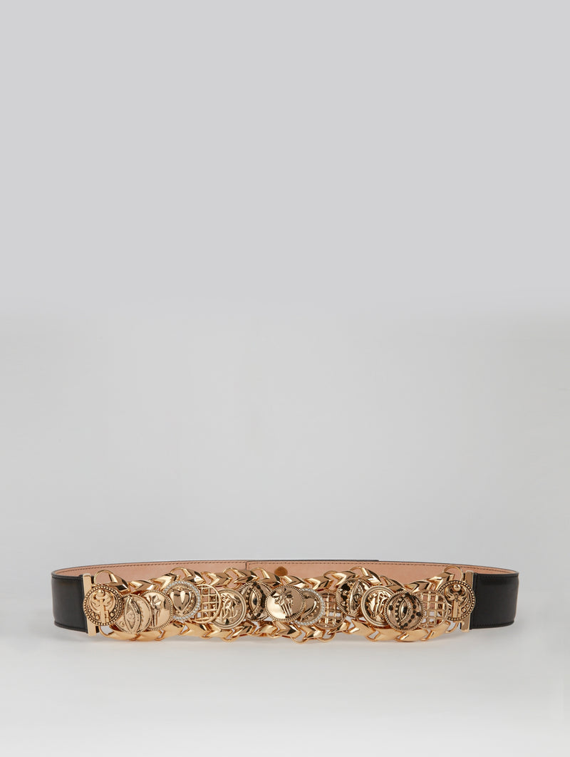 Gold Embellished Leather Belt