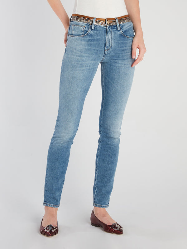 Snake Effect Panel Denim Jeans