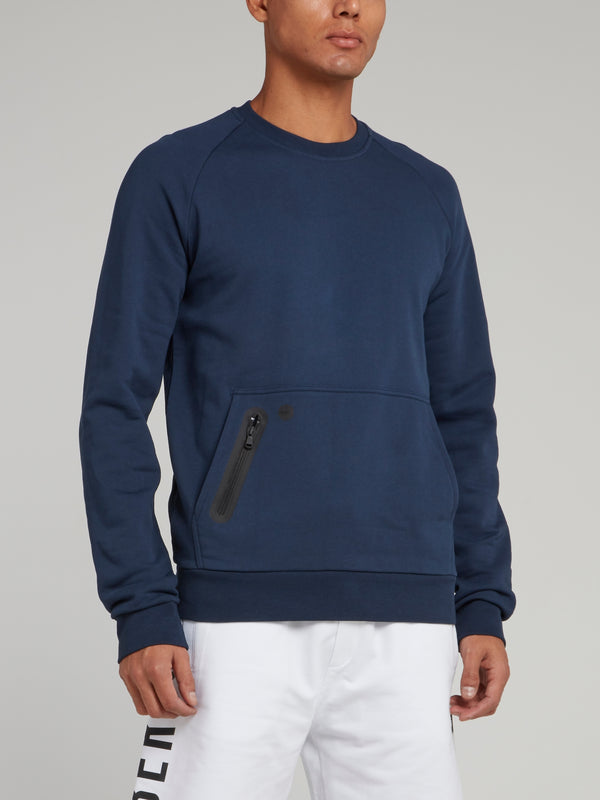Navy Rear Logo Print Sweatshirt