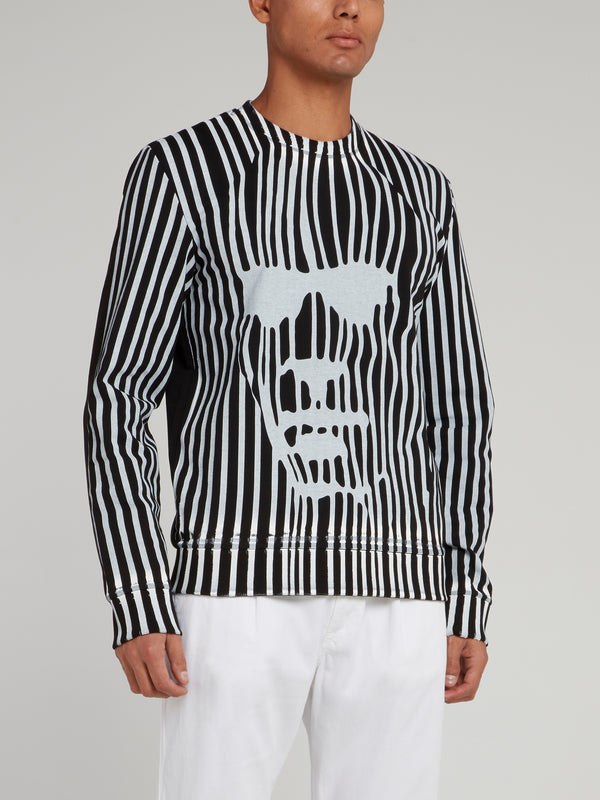 Black Distorted Stripe Sweatshirt