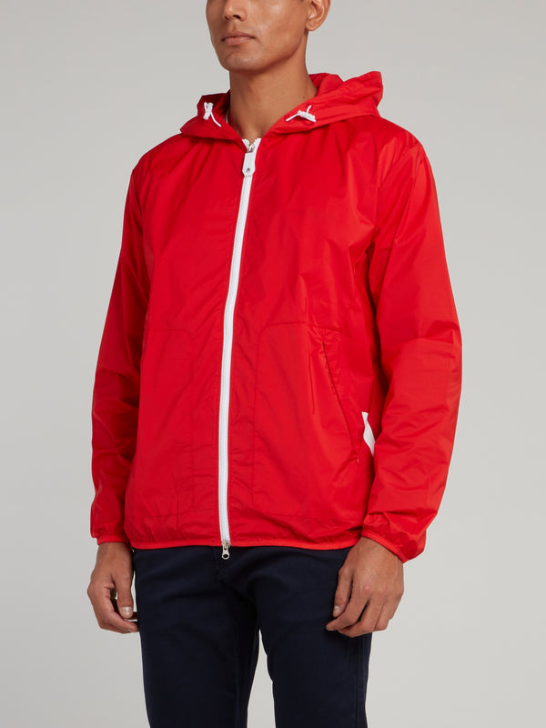Red Hooded Logo Jacket