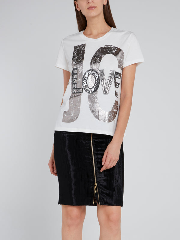 White Foil Print Statement T-Shirt