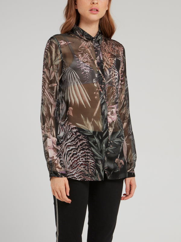 Jungle Print Chiffon Blouse