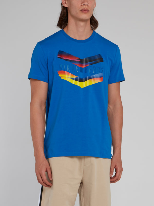 Blue Chevron Print Logo T-Shirt