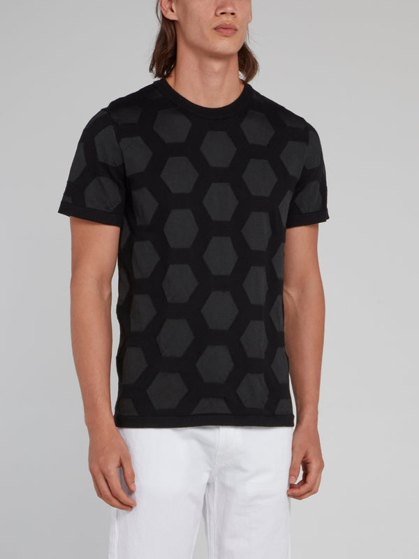 Black Hexagon Pattern Knitted Shirt