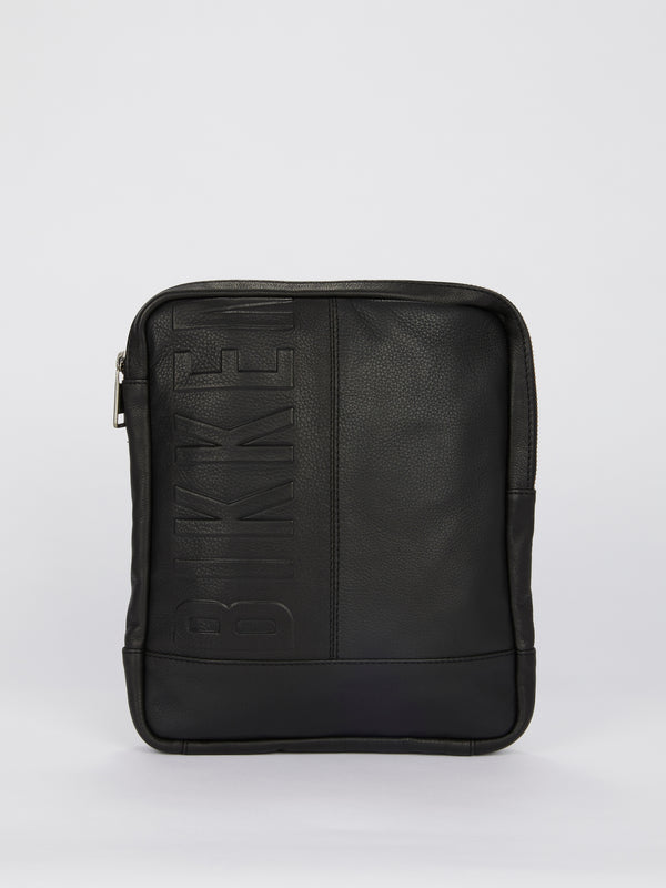 Black Embossed Logo Crossbody Bag