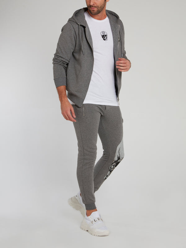 Grey Studded Skull Jogging Trousers