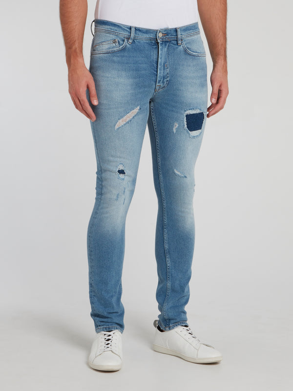 Acid Blue Distressed Skinny Jeans