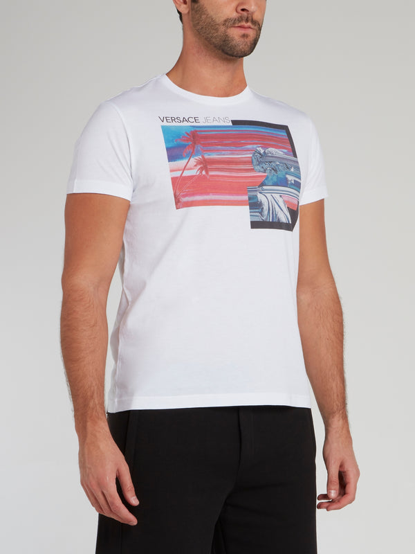 White Graphic Print Jersey T-Shirt