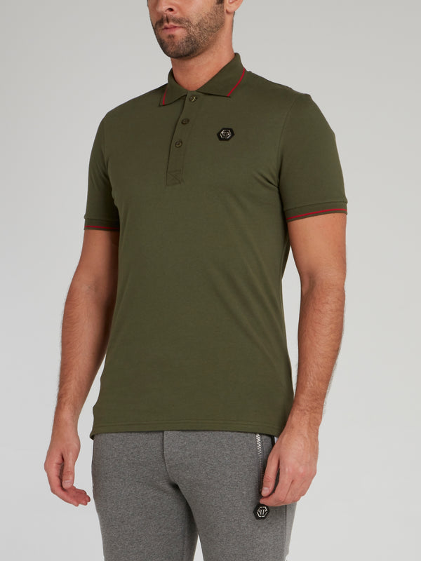 Olive Logo Appliquéd Polo Shirt
