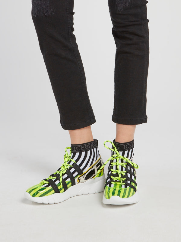 Neon Lace Up Sock Sneakers