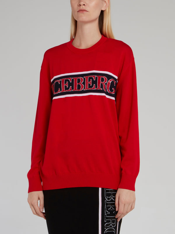 Red Logo Tape Wool Sweater