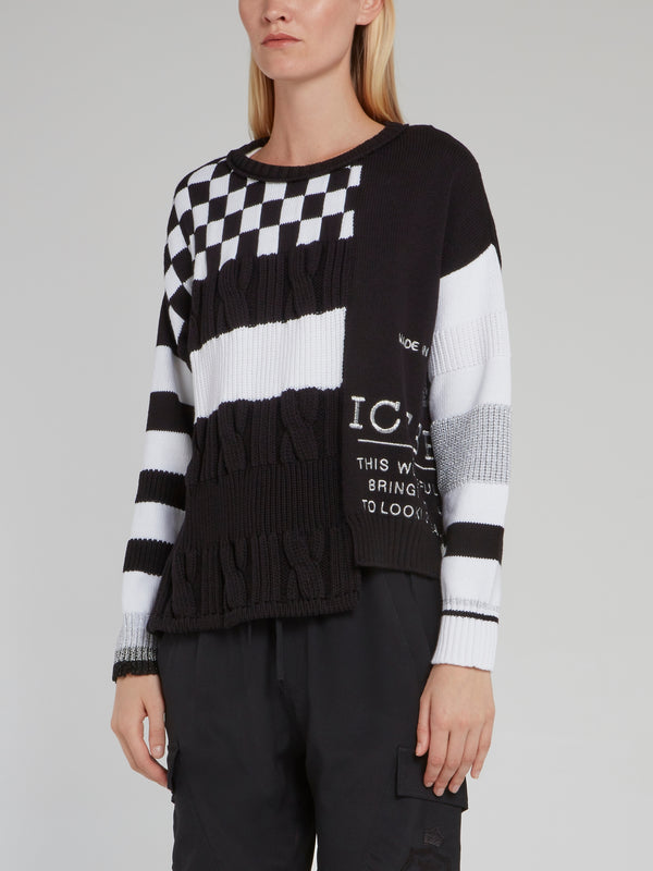 Black Check Panel Knitted Sweater