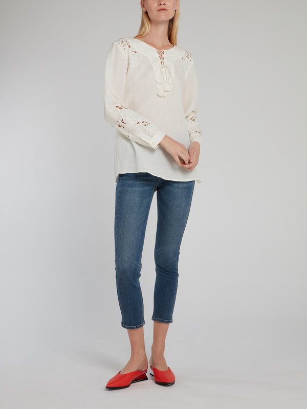 Cropped Denim Stretch Jeans