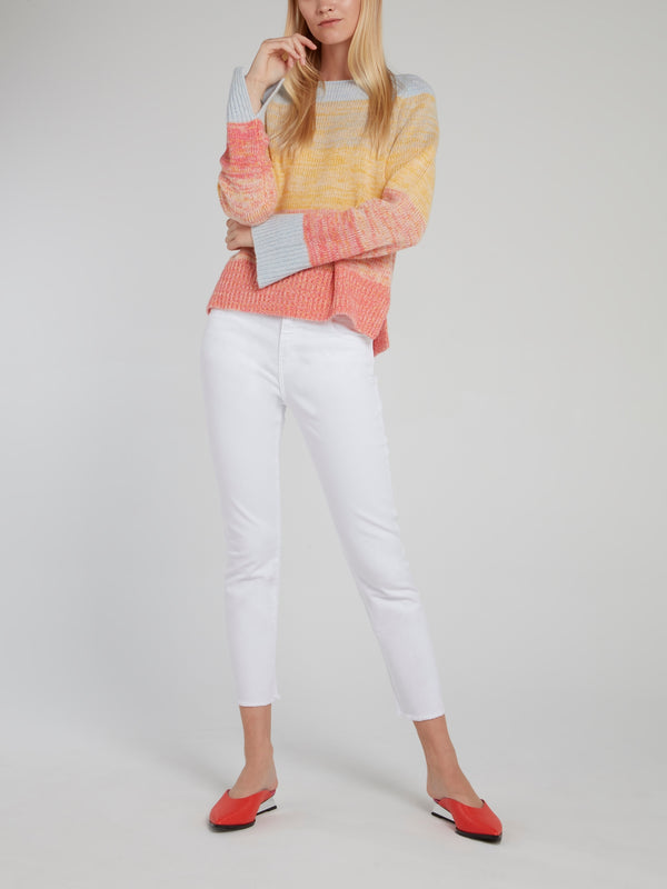White Denim Stretch Trousers