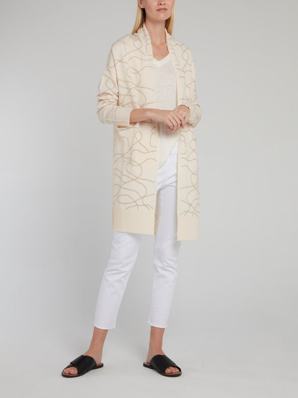 Beige Embroidered Long Cardigan