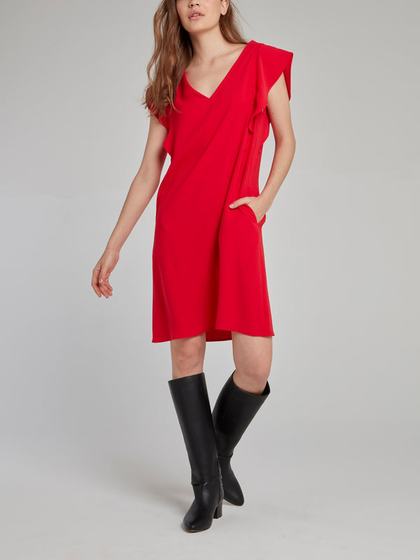 Red Butterfly Sleeve Dress
