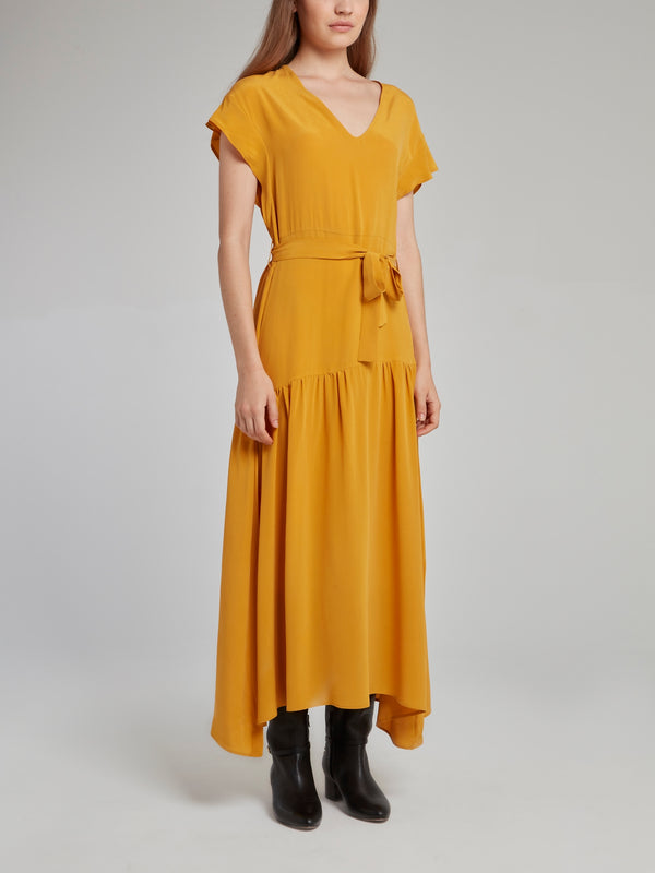 Amber Flounce Silk Dress