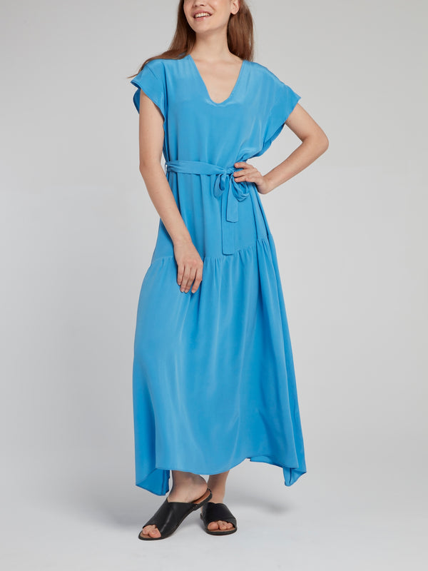 Blue Flounce Silk Dress