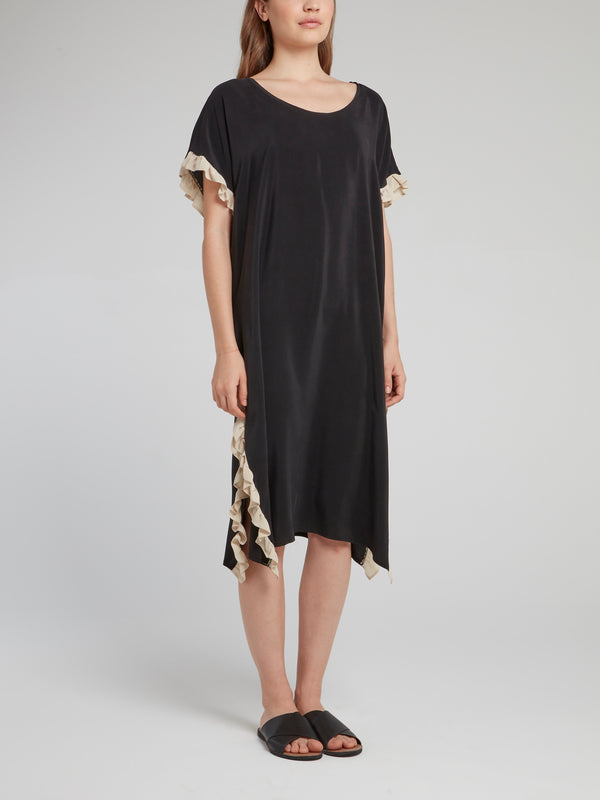 Black Frill Detail Silk Dress