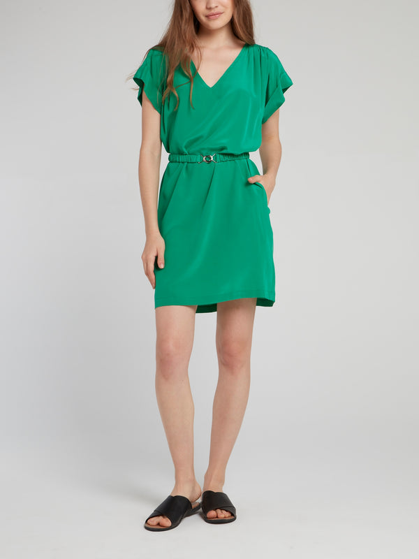 Peppermint Belted Silk Dress