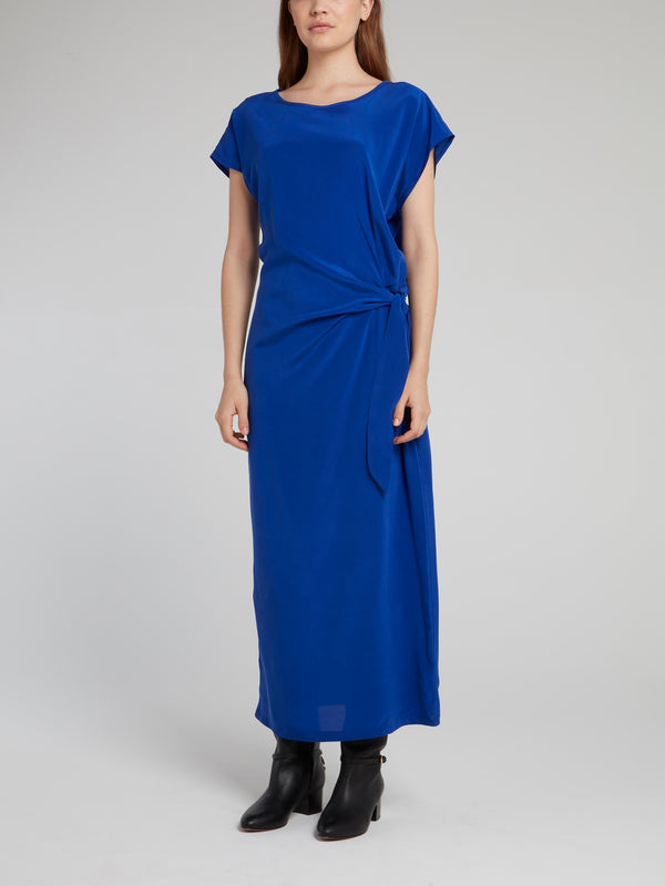 Cobalt Draped Silk Dress