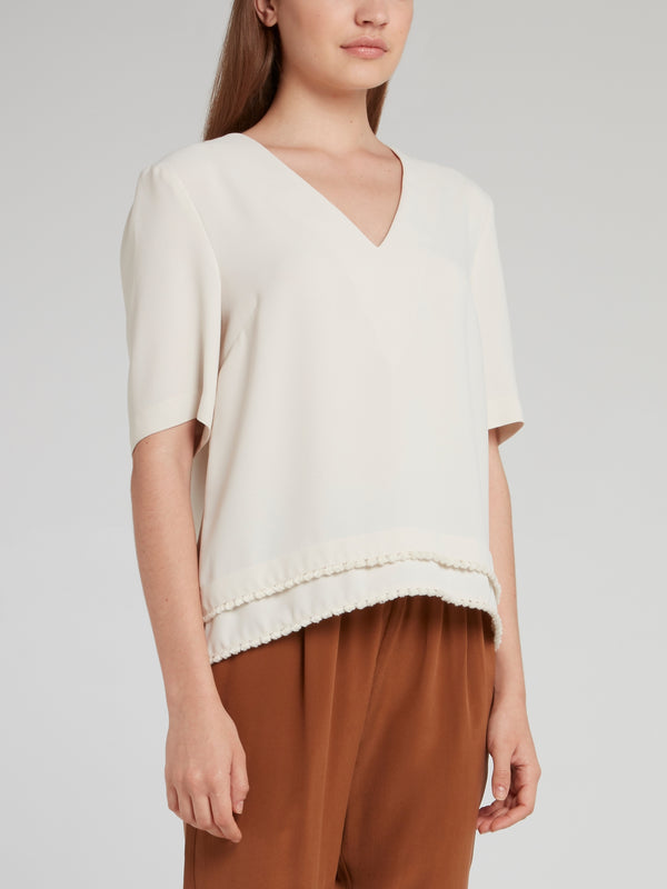 Beige V-Neck Half Sleeve Top