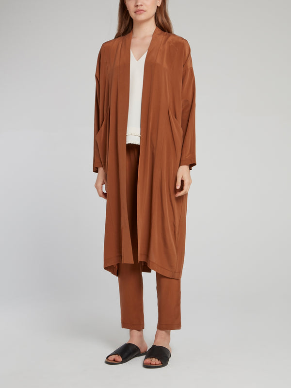 Brown Silk Long Coat