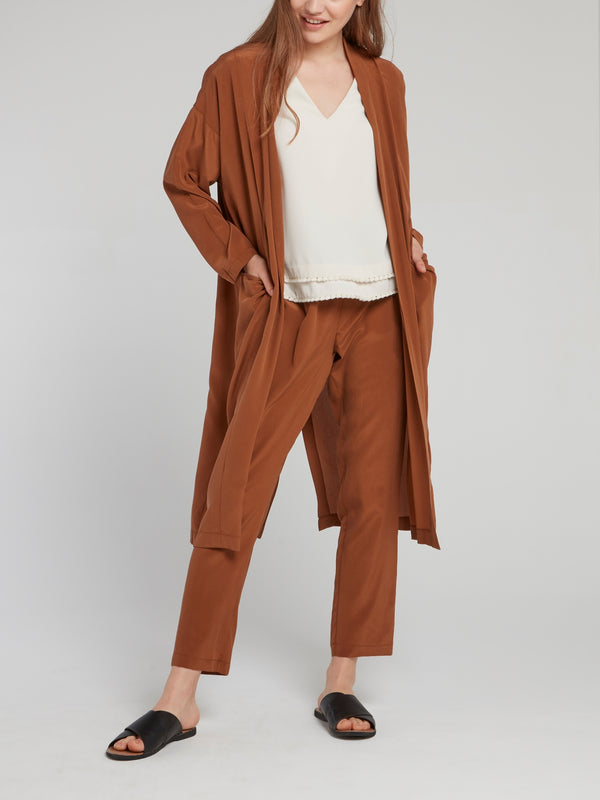 Brown Cropped Tapered Pants