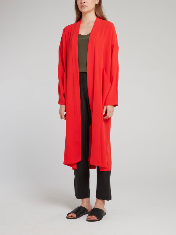 Red Silk Long Coat