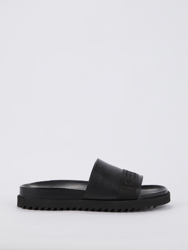 Black Logo Strap Slides