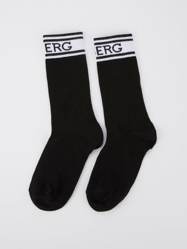 Black Logo High Socks