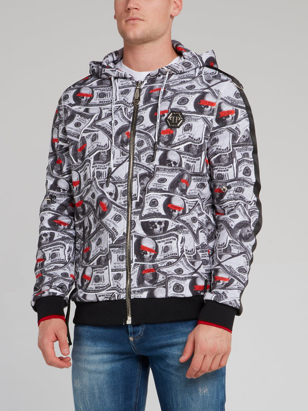 Dollar Skull Hoodie Sweat Jacket