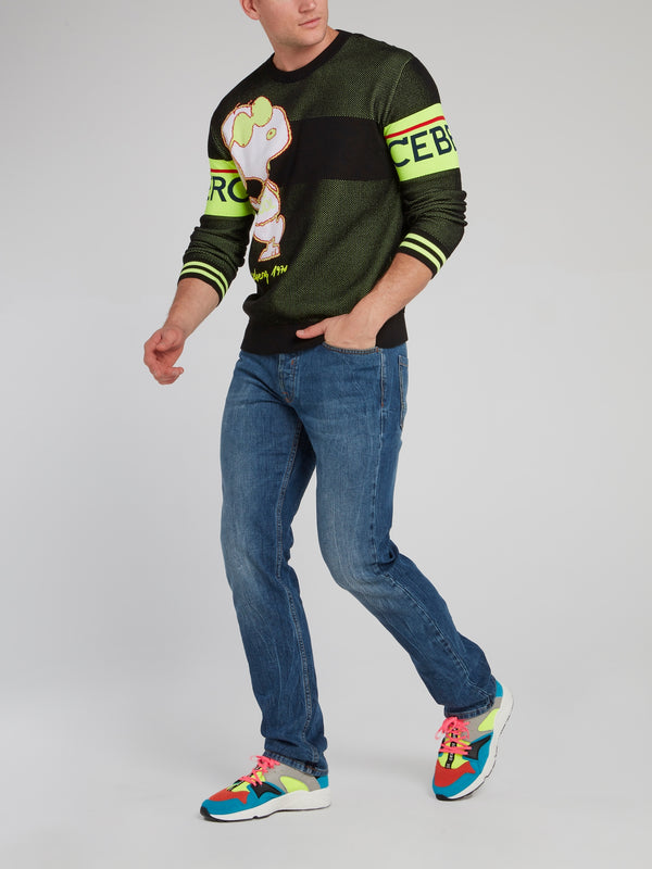 Snoopy Green Perforated Sweatshirt