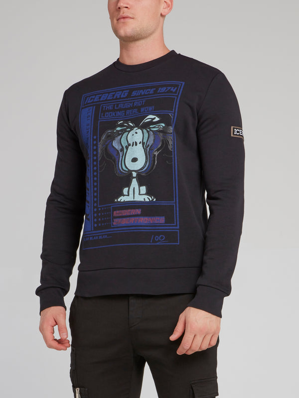 Snoopy Black Cotton Sweatshirt