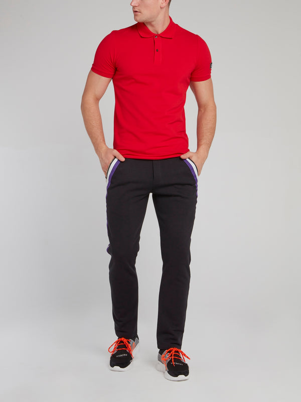 Red Logo Appliquéd Polo Shirt