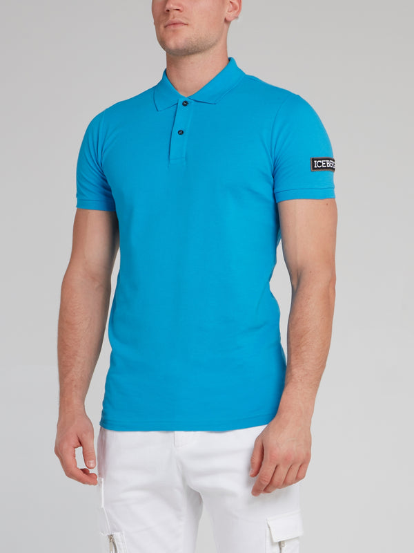 Blue Logo Appliquéd Polo Shirt