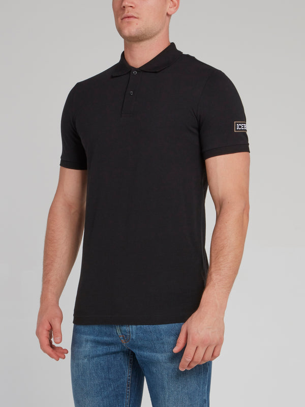 Black Logo Appliquéd Polo Shirt