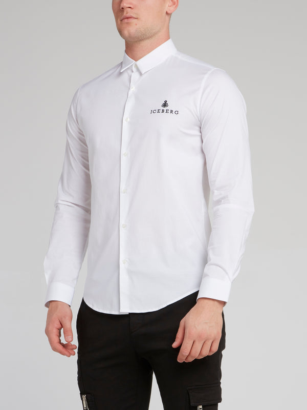 White Logo Embroidered Shirt
