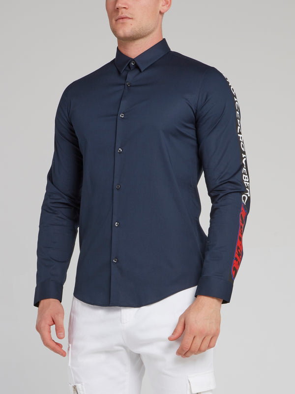 Navy Logo Sleeve Button Up Shirt